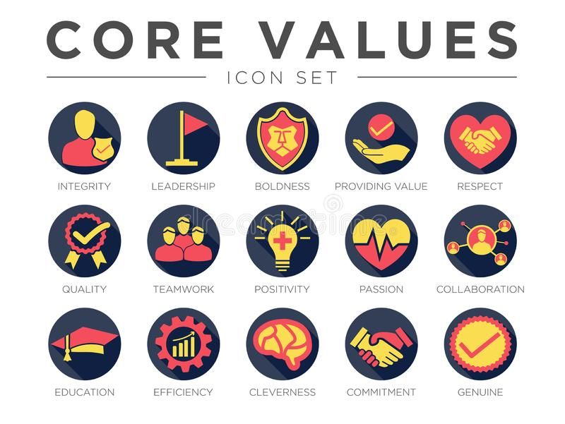 Business Company Values Round Colorful Icon Set. Integrity, Leadership, Boldness, Value, Respect, Quality, Teamwork, Positivity,. Business Company Values Round royalty free illustration
