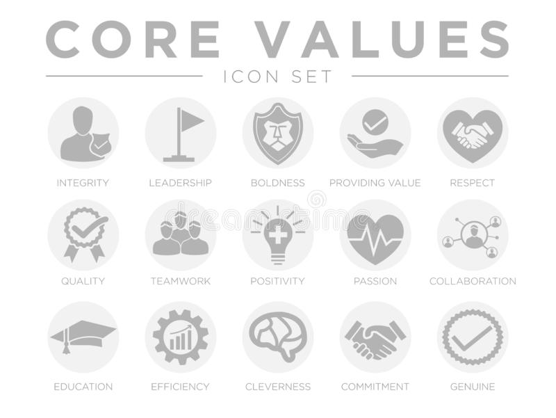 Business Company Values Round Gray Icon Set. Integrity, Leadership, Boldness, Value, Respect, Quality, Teamwork, Positivity,. Business Company Values Round Gray royalty free illustration