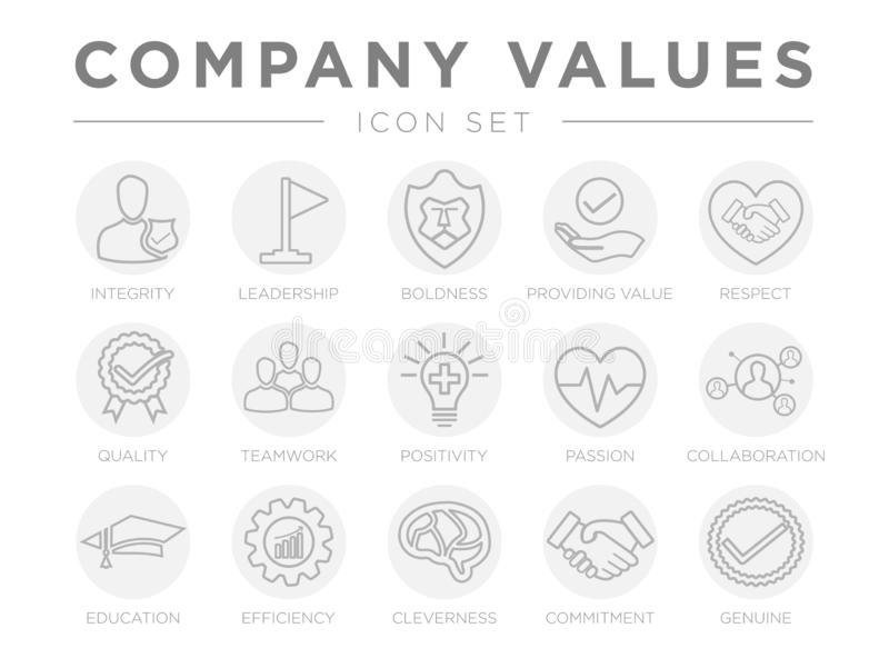 Business Company Values Round Gray Outline Icon Set. Integrity, Leadership, Boldness, Value, Respect, Quality, Teamwork,. Business Company Values Round Gray royalty free illustration