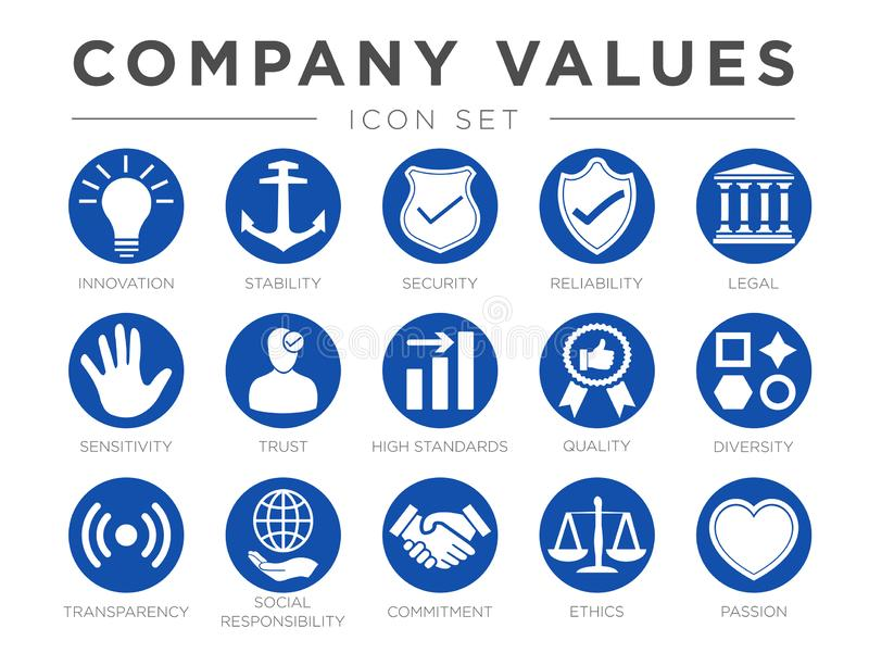Business Company Values Round Icon Set. Innovation, Stability, Security, Reliability, Legal, Sensitivity, Trust, High Standard,. Business Company Values Round stock illustration