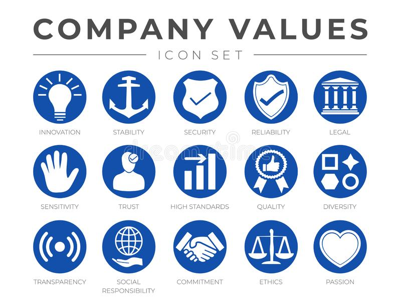 Business Company Values Round Icon Set. Innovation, Stability, Security, Reliability, Legal, Sensitivity, Trust, High Standard, stock illustration