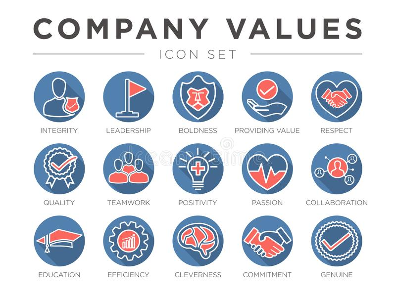 Business Company Values Round Outline Color Icon Set. Integrity, Leadership, Boldness, Value, Respect, Quality, Teamwork, stock illustration