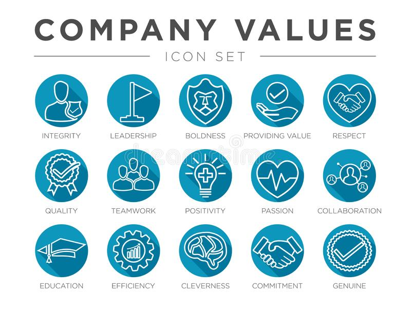 Business Company Values Round Outline Icon Set. Integrity, Leadership, Boldness, Value, Respect, Quality, Teamwork, Positivity,. Business Company Values Round stock illustration