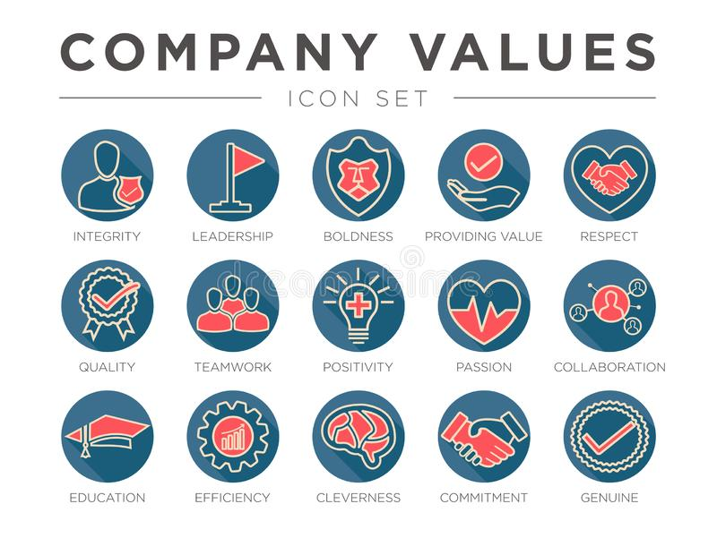 Business Company Values Round Retro Outline Color Icon Set. Integrity, Leadership, Boldness, Value, Respect, Quality, Teamwork,. Business Company Values Round stock illustration