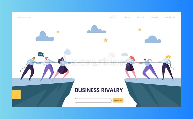 Business Competition Challenge Landing Page Template. Rivalry Concept. Flat Businesspeople Character Pulling Rope royalty free illustration