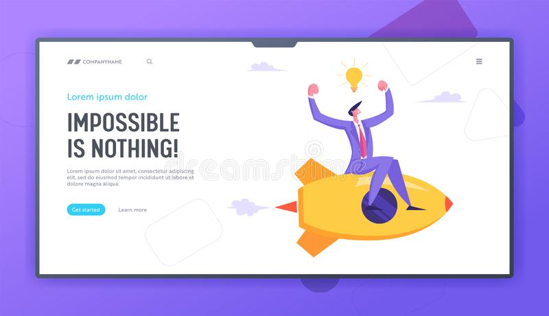 Business Competition Concept. Businessman Demonstrate Muscles Flying on Rocketship, Financial Success, Challenge vector illustration