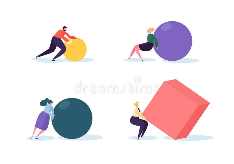 Business Competition Concept. People Characters Move Geometric Shapes. Team Work Leadership and Strategy. Competitive Race with Businessmen. Vector vector illustration