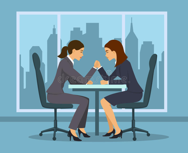 Business competition concept . Two businesswoman, employee arm wrestling in the office vector illustration. Business competition concept . Two businesswoman vector illustration