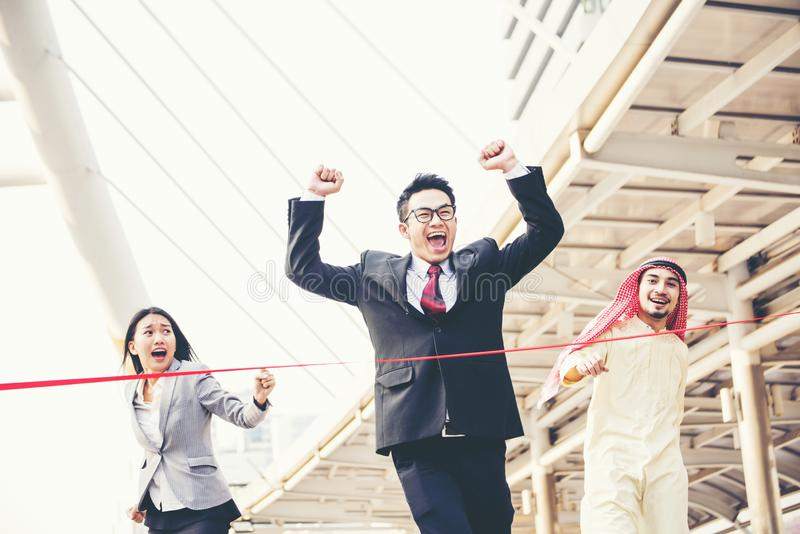 Business competition. Business man is the winner who reach goal first stock photos