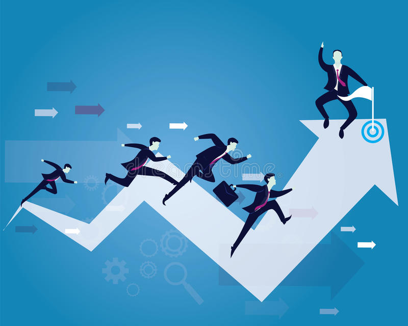 Business Competition. Race To Success. Vector illustration. Business competition concept. Businessmen running forward for racing on success arrow. One leader vector illustration