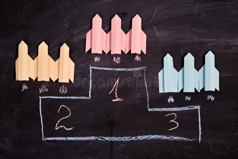 Business competition, rivalry, challenge or dispute. Success and strategy concept. Three aircraft compete.  stock photography