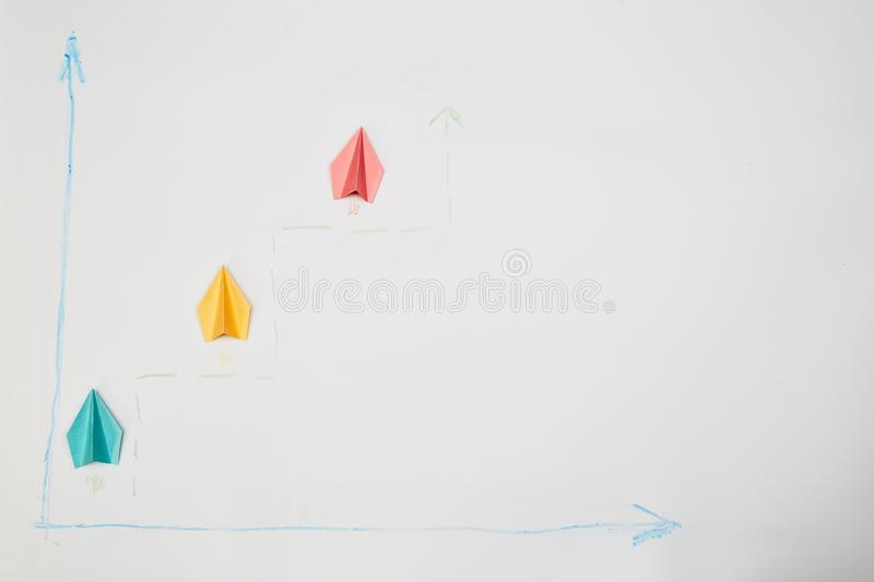 Business competition, rivalry, challenge or dispute. Success and strategy concept. Three aircraft compete.  royalty free stock photography