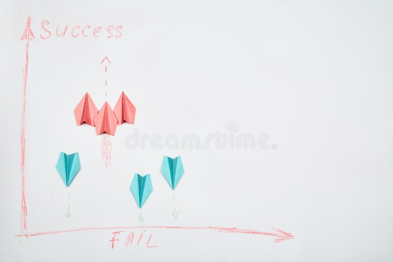 Business competition, rivalry or challenge. Success and strategy concept. A group of aircraft is moving to success.  royalty free stock image