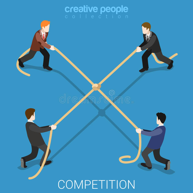 Business competition tie rope flat 3d isometric vector stock illustration