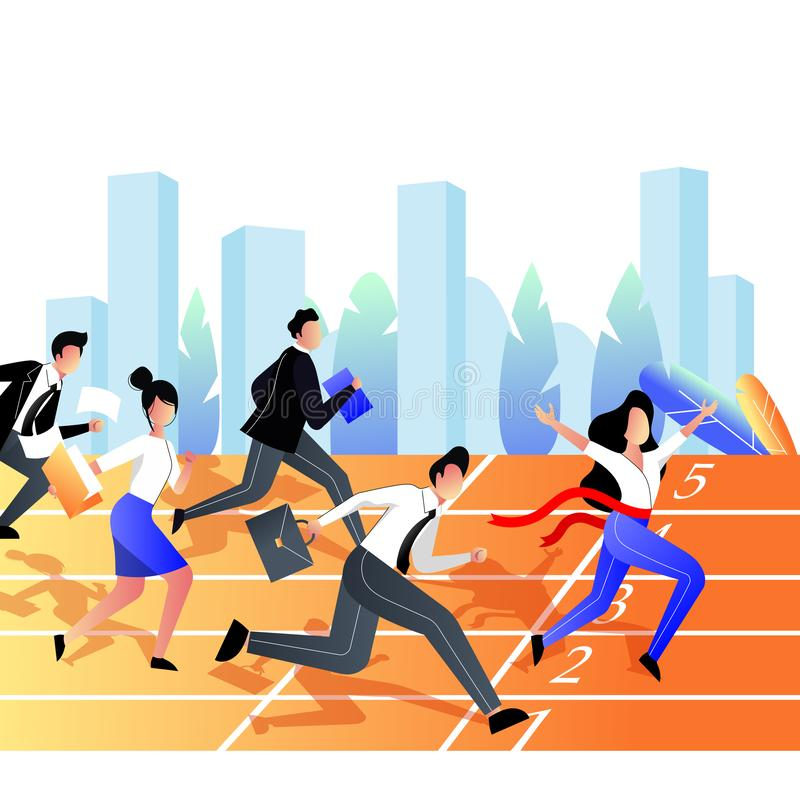 Business competition win concept. Group of business people race on the stadium sports track. Vector flat illustration royalty free illustration