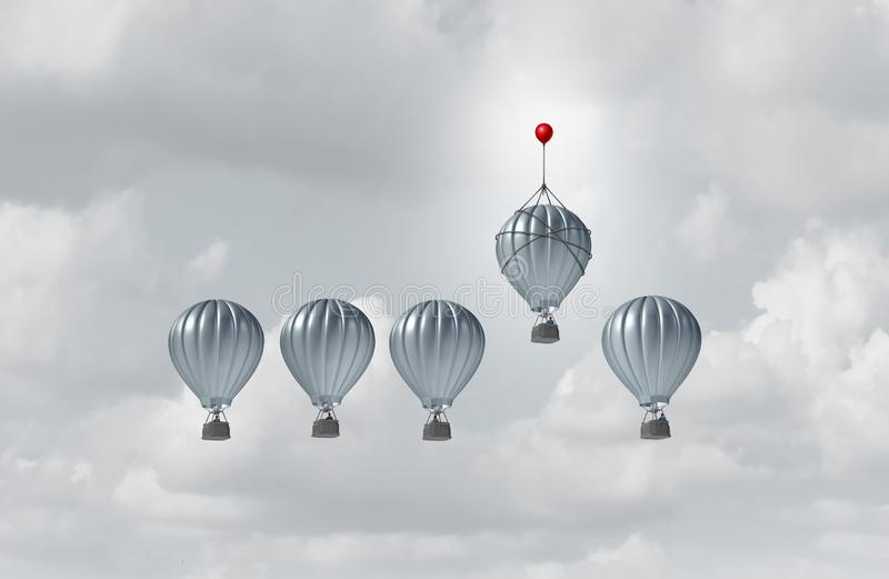 Business Competitive Advantage. Success and corporate edge concept as a group of hot air balloons racing to the top but an individual leader with a small stock illustration