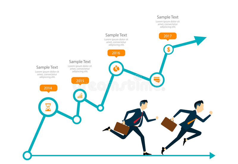 Business competitive concept. Two business man competitive in business on graph concept.fast business and business leader concept vector illustration