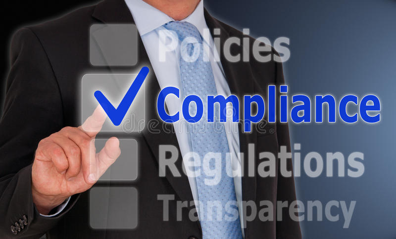 Business compliance on touch screen stock image