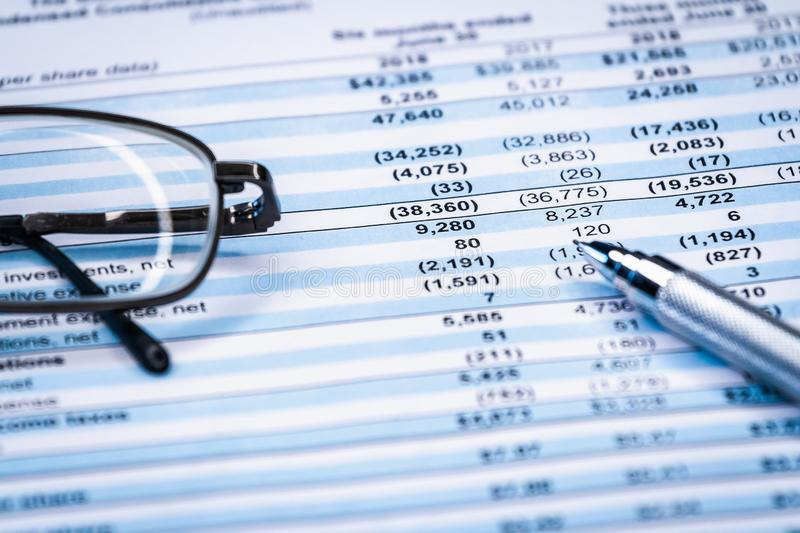Business composition. Financial analysis - income statement balance. Business composition. Financial analysis - income statement, business plan, finance royalty free stock photos