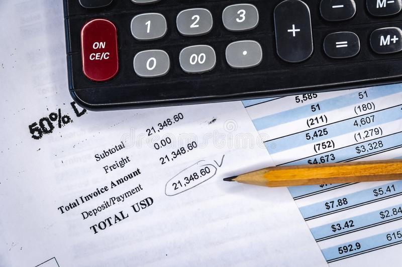 Business composition. Financial analysis - income statement, business plan. Business finance, accounting, statistics and analytic research concept. Financial stock image