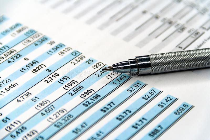 Business composition. Financial analysis - income statement. Business plan, finance, accounting, document, balance, money, company, corporate, glasses stock images