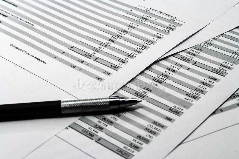Business composition. Financial analysis - income statement, business plan. Business composition. Financial analysis - income statement sheet, business plan with stock images