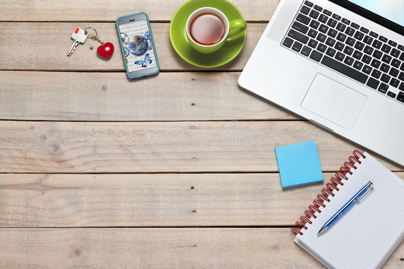 Business Computer Desk Technology Background royalty free stock photo