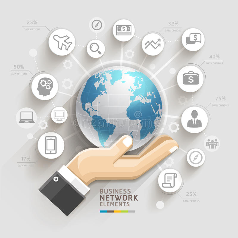 Business computer network. Business hand with global template. Can be used for workflow layout, banner, diagram, web design, infographic template royalty free illustration