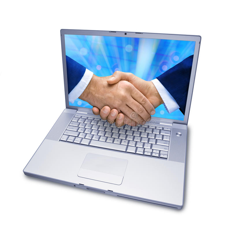 Business Computer Services Handshake. An isolated laptop computer with two businessmen shaking hands coming out of the screen creating a 3D effect