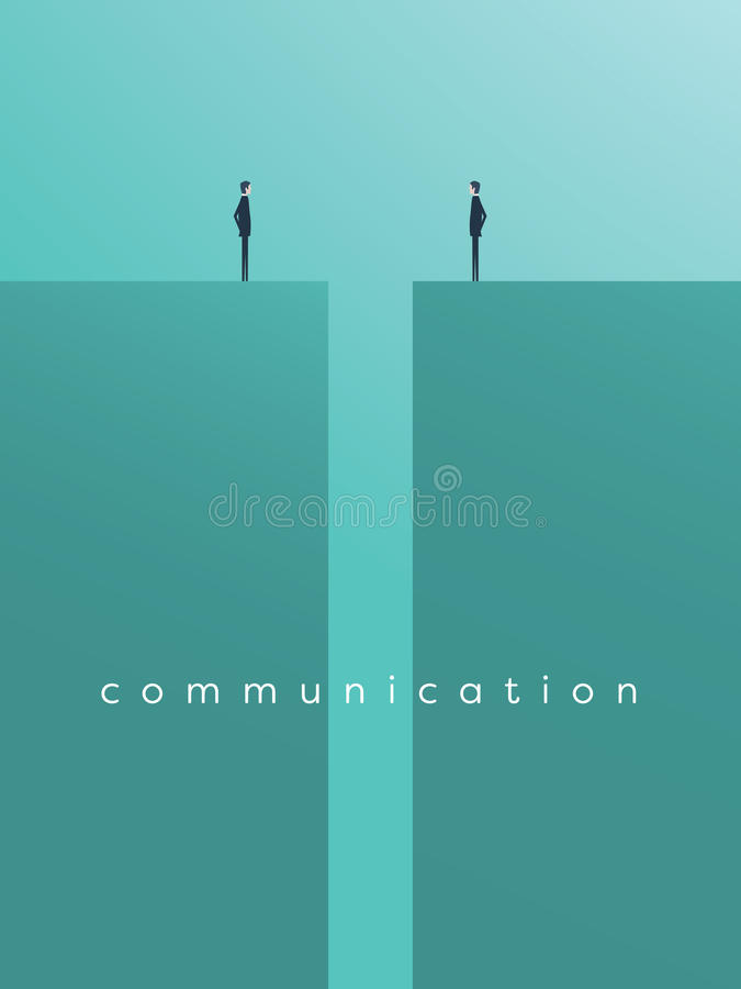 Business comunication or negotiation problems, issues. Two businessmen icons with gap between them. Eps10 vector illustration vector illustration