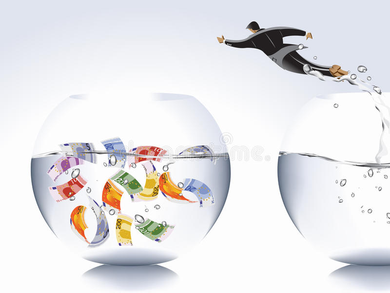 Business Concept. Businessman jumping from empty bowl to another with money, catch the moments royalty free illustration