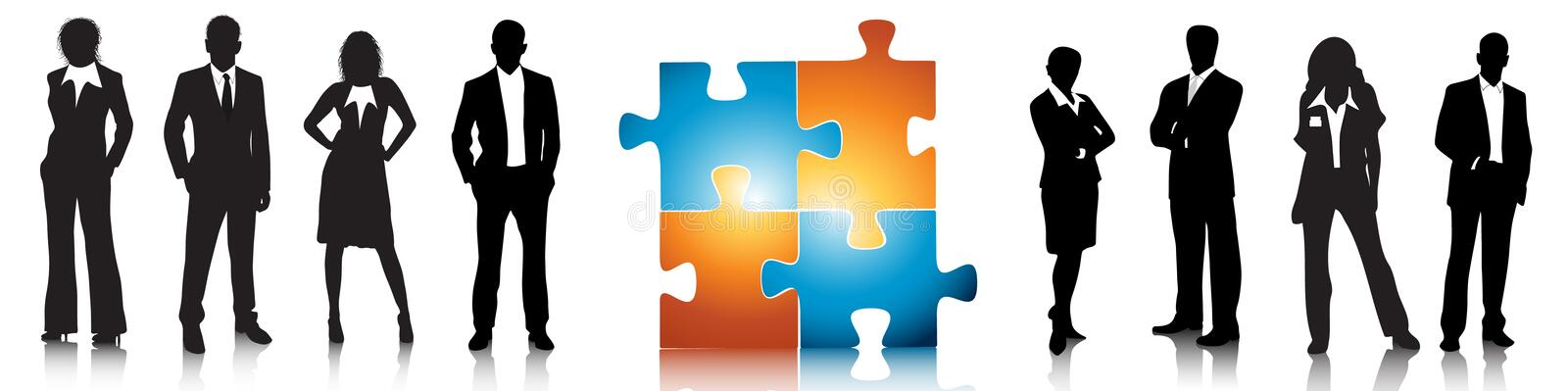 Business concept. Illustration of business people with puzzle royalty free illustration
