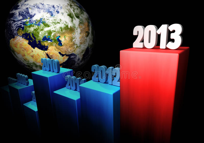 Business Concept 2013 - Europe and Asia. Chart of the global gains in 2013, Europe and Asia in the background stock illustration