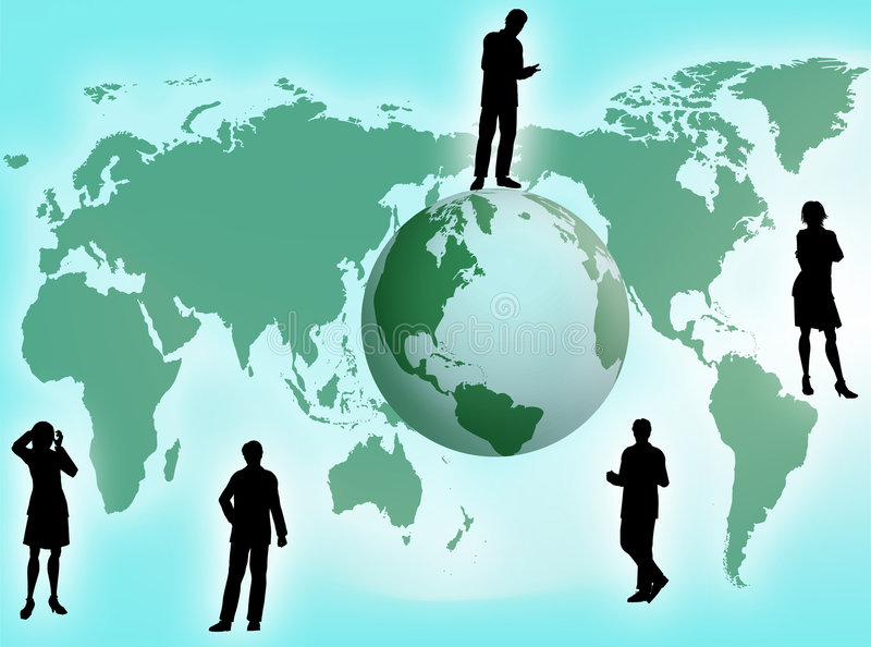 Business concept. Business team all around the world as business concept vector illustration