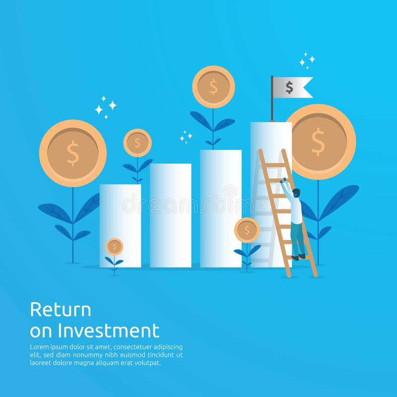 Business concept of achievement goal success flag with stair. Return on investment ROI. Finance growth vision rising up arrow vector illustration