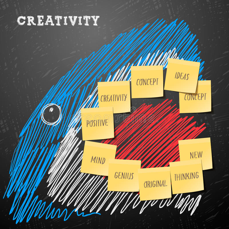 Business concept of aggressive growth. Creativity business concept made with shark drawing and post it notes, vector eps10 image vector illustration