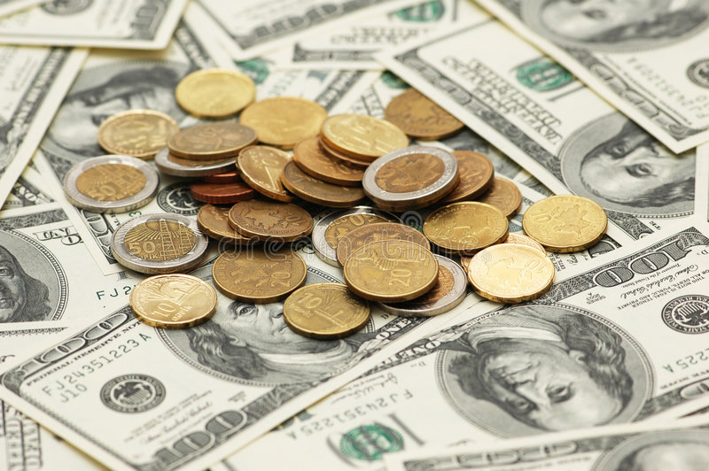 Business concept - american dollars. And many us dollars stock photos
