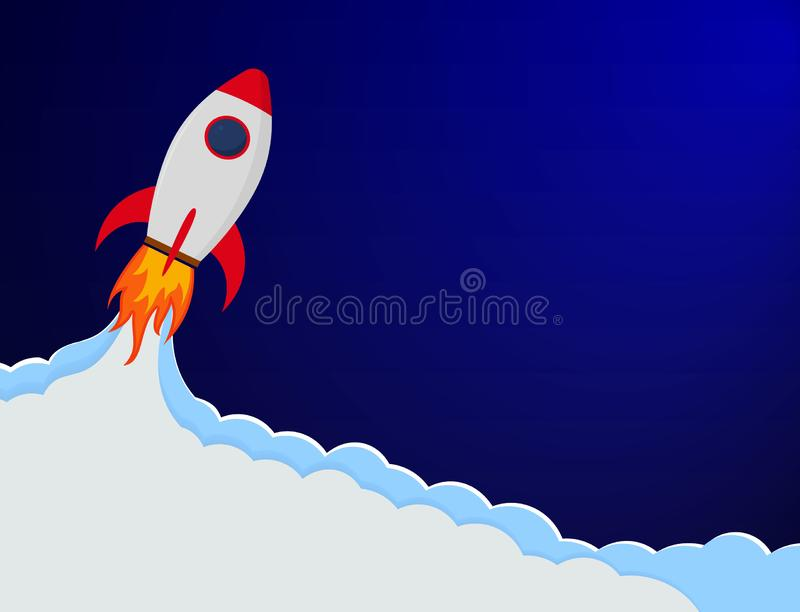 Business concept banner with startup rocket. Launch rocket cartoon illustration. Shuttle in space for landing page of website with vector illustration
