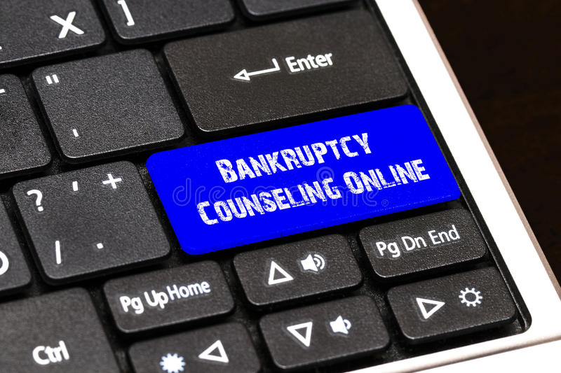 Business Concept - Blue Bankruptcy Counseling Online Button on S royalty free illustration