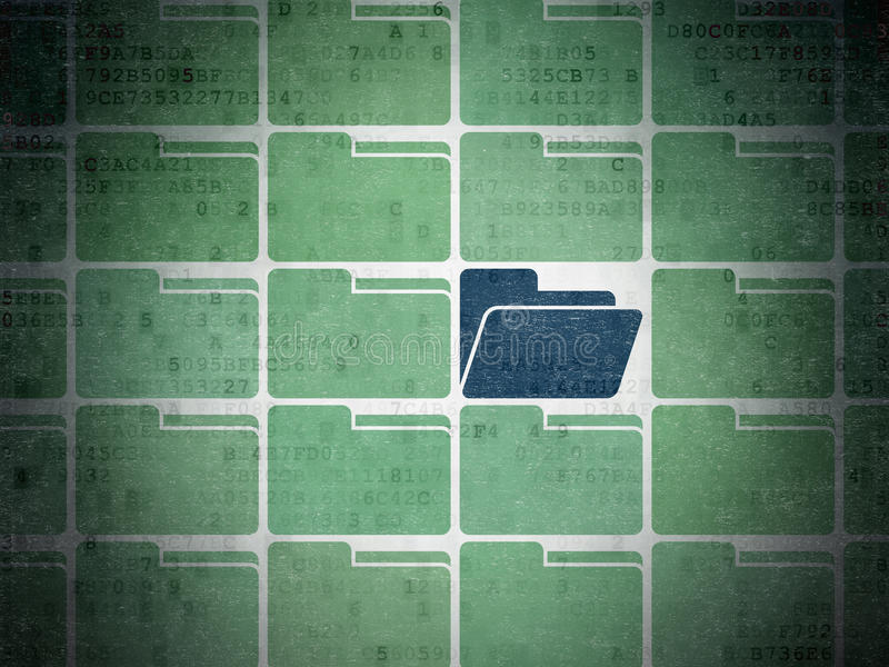 Business concept: blue folder icon on digital. Business concept: rows of green folder icons around blue folder icon on Digital Paper background, 3d render royalty free stock photos