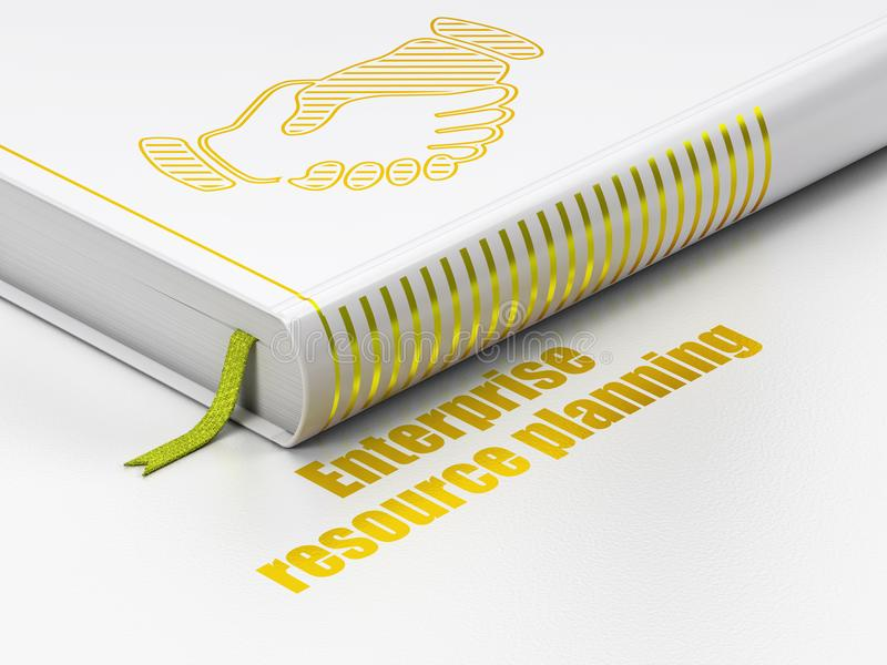 Business concept: book Handshake, Enterprise Resource Planning on white background. Business concept: closed book with Gold Handshake icon and text Enterprise vector illustration