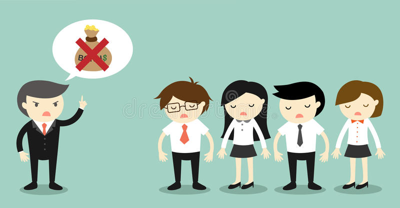 Business concept, Boss talking about no bonus and business people feeling sad. Vector illustration stock illustration