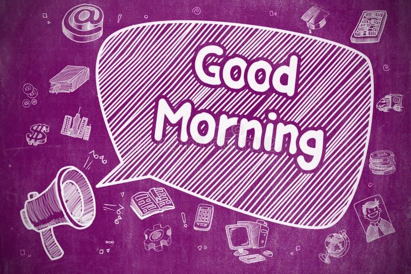 Good Morning - Doodle Illustration on Purple Chalkboard. Business Concept. Bullhorn with Wording Good Morning. Hand Drawn Illustration on Purple Chalkboard stock illustration