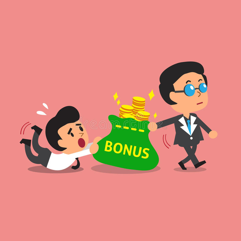 Business concept business boss pulling bonus money bag from a businessman. For design vector illustration