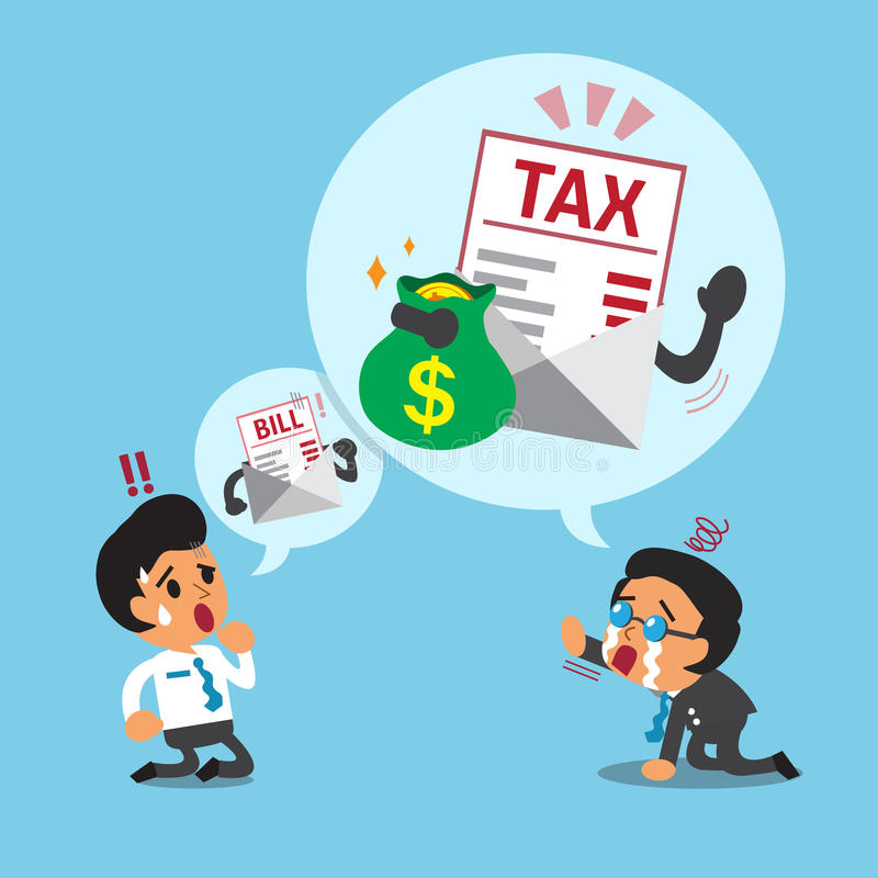 Business concept business boss talking about tax. For design vector illustration