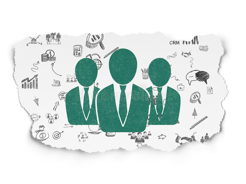 Business concept: Business People on Torn Paper. Business concept: Painted green Business People icon on Torn Paper background with Scheme Of Hand Drawn Business royalty free illustration