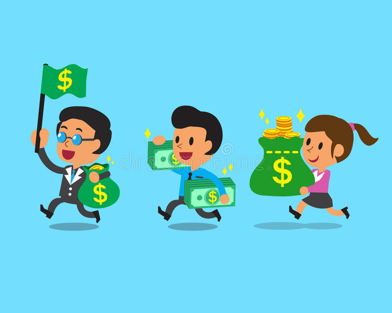Business concept business team and money vector illustration