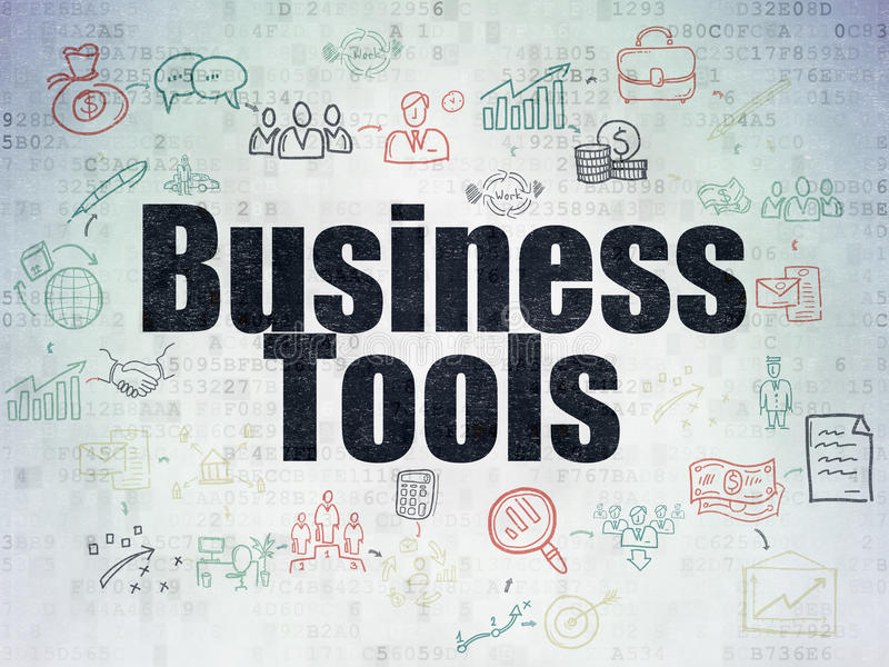 Business concept: Business Tools on Digital Paper vector illustration