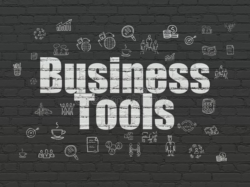 Business concept: Business Tools on wall background. Business concept: Painted white text Business Tools on Black Brick wall background with Hand Drawn Business vector illustration