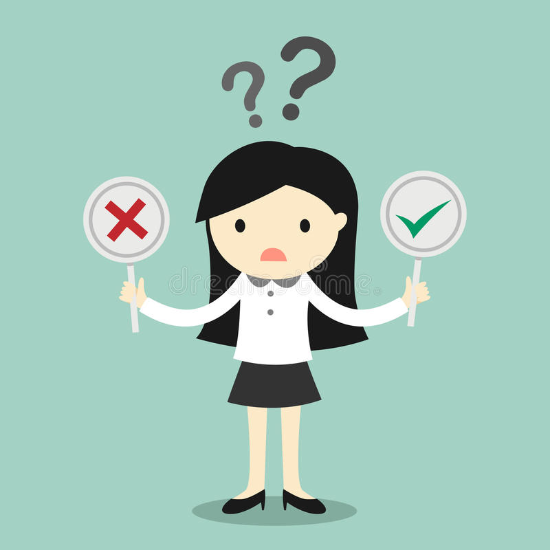 Business concept, Business woman is confused about true or false. Vector illustration vector illustration
